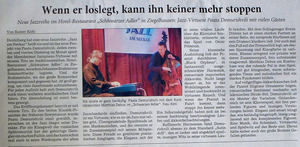Jazz am Neckar / Rhein Neckar Zeitung